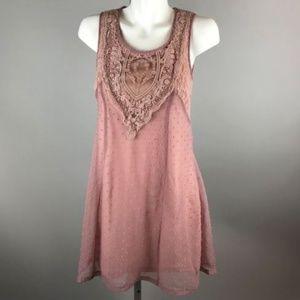 A'reve Pink Sleeveless Swiss Dot Tank Mini Dress S